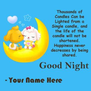 Cute Good Night Kissing Greeting Card Name Wishes Photo Send