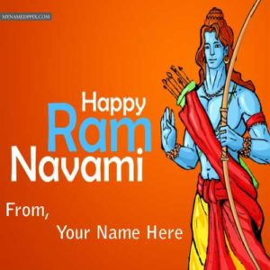 Lord Rama Wishes Happy Ram Navami Greeting Name Card Images