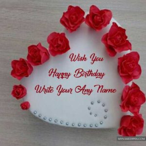 Lovely Heart Happy Birthday Cake Name Wishes Photo Online Edit