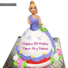 New Beauty Barbie Birthday Cake Kids Girl Name Wishes Images