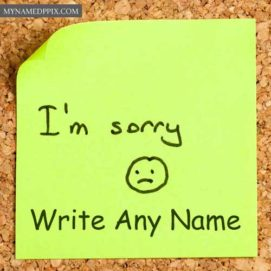 Sad Sorry Note Write Name Sending Photo Online Create