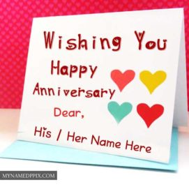 Wishing U Happy Anniversary Dear Name Write Greeting Cards