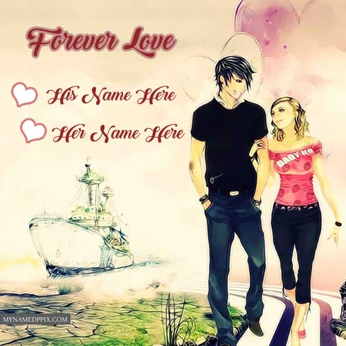 Cool Romantic Love: Write Couple Name Romantic Cool Lover Profile Photo Create