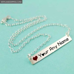 Write Name Silver Necklace Bar Image Profile Photo Edit