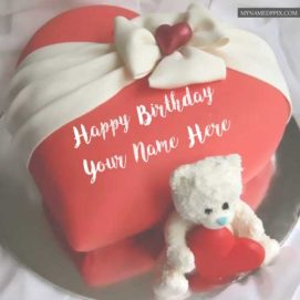 Write Name Sweet Teddy Bear Birthday Cake Images Send