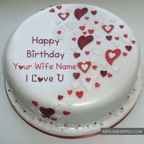 Write Wife Name Birthday Cake Wishes Love Design Image Send