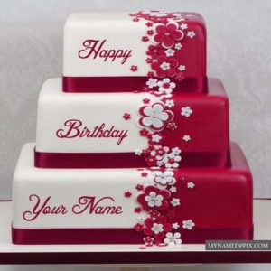 Beautiful Layered Birthday Cake With Name Editor Photo Online
