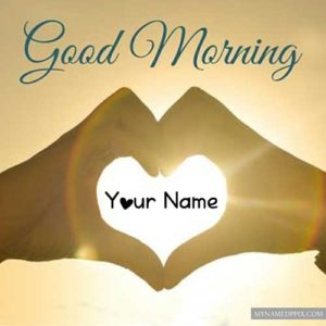 Create Name Wishes Good Morning Love Hand Sunset Pictures