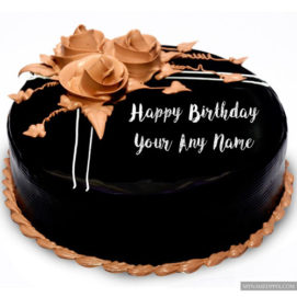 Truffle Chocolate Cream Birthday Cake Wishes Name Write Pictures