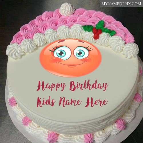 Write Children Name Wishes Happy Birthday Emoji Smile Cake Photo