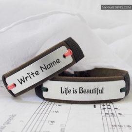 Write Name Beautiful Life Awesome Leather Bracelet Profile Images