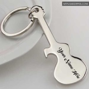Write Name Stylish Cool Music Guitar Keychain Pictures