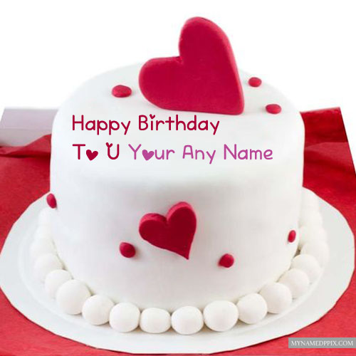 Red Velvet Heart Birthday Cake Name Wishes Pictures Creating