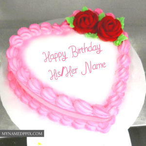 Amazing Pink Heart Happy Birthday Cake Lover Name Wishes Status