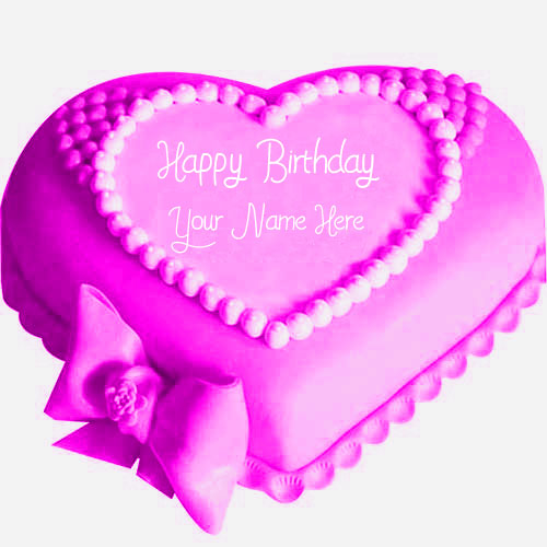 Beautiful Pink Happy Birthday Cake Sweet Heart Name Wishes Pictures
