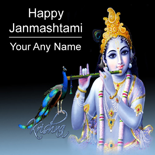 Happy Janmashtami 2018 Greeting Card Name Writing Photo