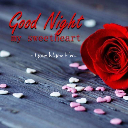Write Name Sweet Heart Good Night Wishes Love Greeting Card My Name Pix Cards