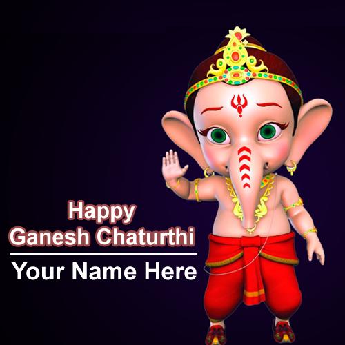 Happy Ganesh Chaturthi Wishes Name Greeting Image Edit Online Status