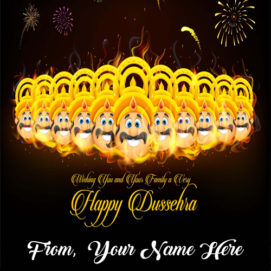 Write Name On Happy Dussehra Festival Wishes Greeting Cards Images