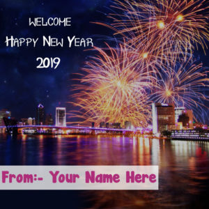 Amazing Firework New Year 2019 Wishes Name Write Image