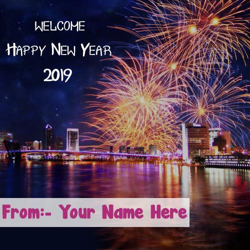 Amazing Firework New Year 2019 Wishes Name Write Image