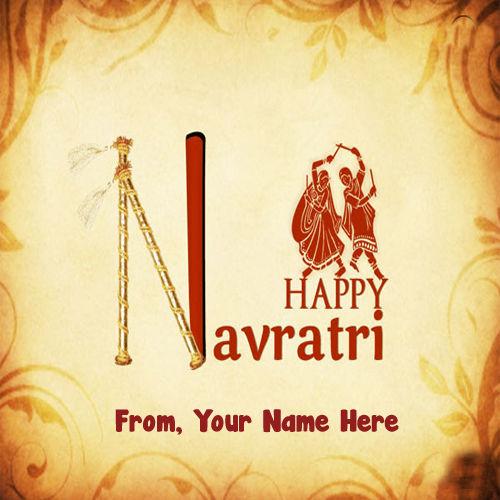 Latest Happy Navratri Name Writing Wish Card Send Photo Online