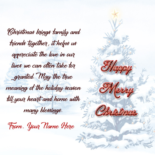 Name Greeting Card Merry Christmas Quotes Messages Images