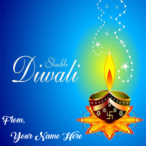 Shubh Diwali Candles Wish Card Name Write Photos Send