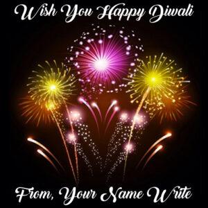 Write Name Diwali Beautiful Firework Wishes 2018 Images
