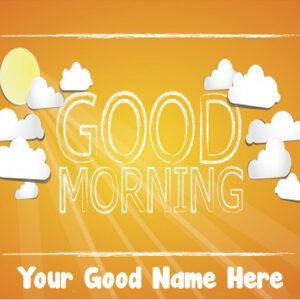 Write Name Good Morning Wishes Sun Status Download Free