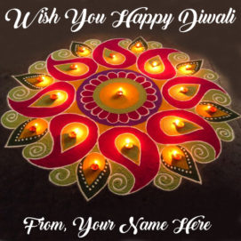 Write Name Wishes Beautiful Diwali Greeting Card Candles Images