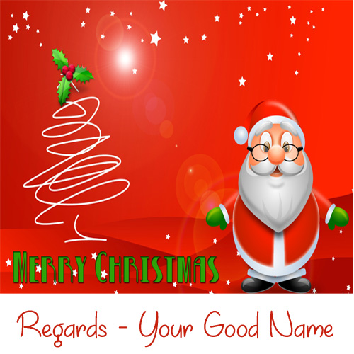 Merry Christmas Santa Wishes Beautiful Name Greeting Card