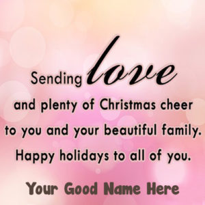 Sending Love Christmas Greeting Card Name Wishes Photo