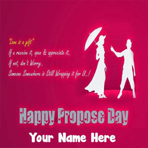 2019 Happy Propose Day Couple Name Wishes Photo Edit