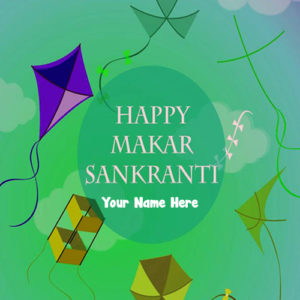 Happy Uttarayan Wishes 2019 HD Name Write Image