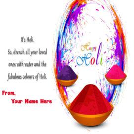 Happy Holi 2019 Greeting Card Name Photo Create