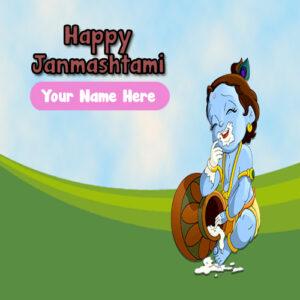 Write Name Card Janmashtami Wishes Image