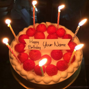 Beautiful Candles Birthday Cake With Name Wishes Pictures