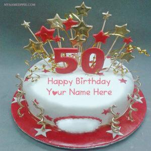 Print Name On 50th Year Wishes Birthday Cake Photo