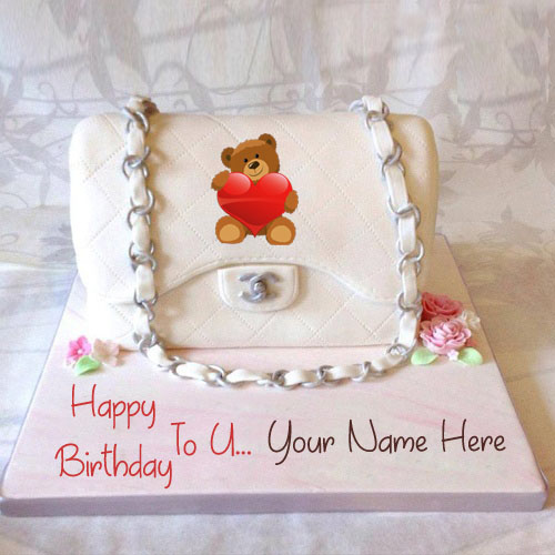 Write Name On Beautiful Teddy Birthday Cake For Gf Wishes