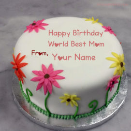 Write Name On Birthday Cake For Mother Wishes Pictures