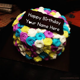 Write Name On Flowers Design Birthday Cake Pictures