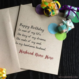 Write Name On Specially Husband Birthday Wish Card