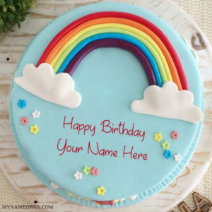 Write Name On Specially Rainbow Birthday Cake