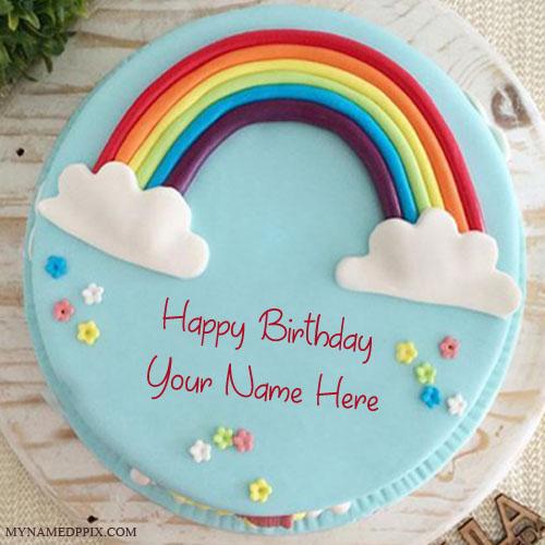 Write Name On Specially Rainbow Birthday Cake