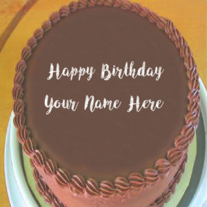 Chocolate Birthday Cake With Name Wishes Image