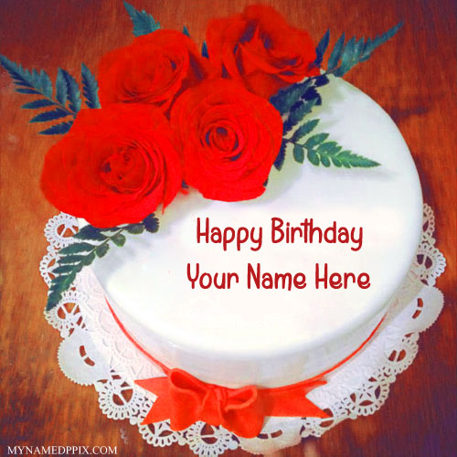 Red Rose Birthday Cake With Name Image My Name Pix Cards