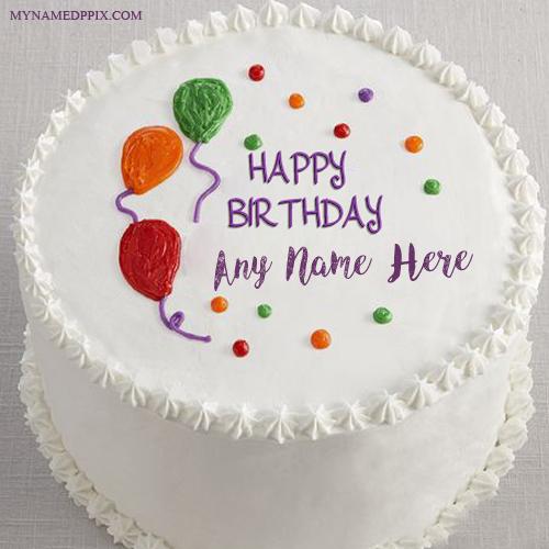 Balloons Decoration Birthday Cake Kids Name Wishes