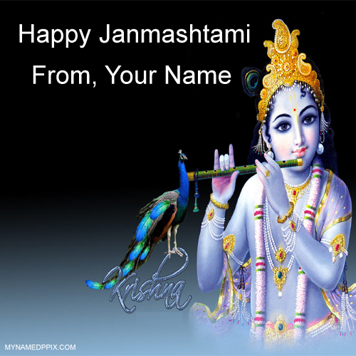 Create Online Janmashtami Wish Card Sand Whatsapp
