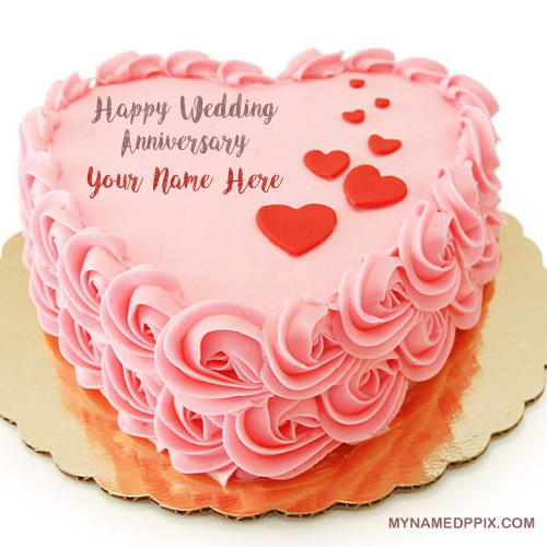 Name Wishes Happy Wedding Anniversary Cake Image My Name Pix Cards